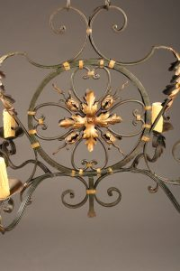 19th century French iron 6 light chandelier