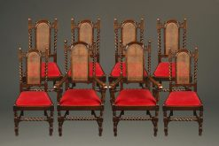 Set of 8 Jacobean style oak dining chairs with cane backs
