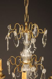 19th century French dorè bronze chandelier with crystals and 4 arms