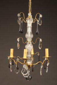 Late 19th century French 4 arm bronze and crystal chandelier