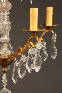 Late 19th century French bronze and crystal chandelier with 5 arms