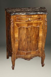 Italian burl walnut shoe commode with marble top