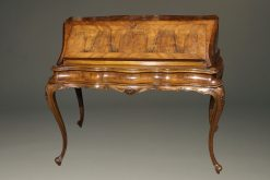19th century Italian ladies writing desk with elegant lines made in burr walnut.