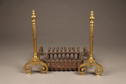 Late 19th century three piece set of brass English andirons with original iron basket