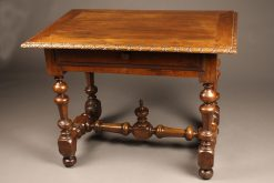 Early 19th century French Louis XVI style walnut work table with drawer