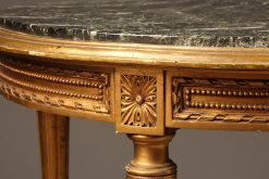 French Louis XVI style marble top gilded table
